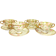 4 Antique Limoges Bouillon Cups Saucers Pink Tea Roses