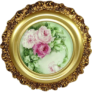 French Limoges Framed Plate Hand Painted Pink Tea Roses Signed