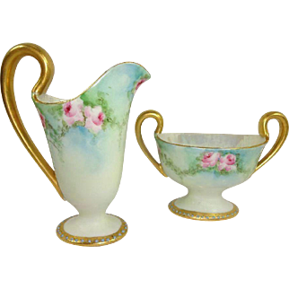Antique French Limoges Jeweled Sugar Creamer Hand Painted Roses