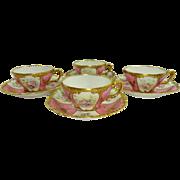 4 Limoges Cups Saucers Hand Painted Tea Roses Floral Gilt Design