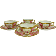 4 Limoges Cups Saucers Hand Painted Tea Roses Floral Gilt Design