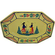 HB HenRiot Quimper France Soleil Yellow Breton Couple Platter Tray