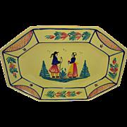 HB HenRiot Quimper France Soleil Yellow Breton Couple Platter Tray