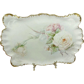 Antique French Limoges Tray with Hand Painted Roses Signed Dated