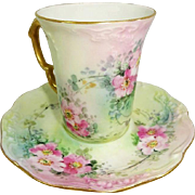 Vintage French Limoges Cup Saucer Set Hand Painted Pink Roses