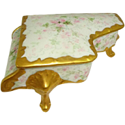 French Limoges Trinket Piano Box Hand Painted Pink Tea Roses