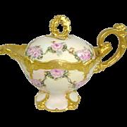 Stunning Limoges France Teapot Pink Roses Rare Porcelain Blank