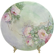 JPL Limoges Plate Hand Painted Pink Roses