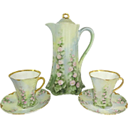 Haviland Limoges France Chocolate Pot Set Hand Painted Hollyhocks