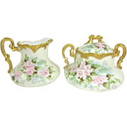 Gorgeous Austria Sugar and Creamer with Hand Painted Pink Roses