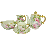 Antique Limoges Tea Set Hand Painted Pink Roses Signed Dated 1900