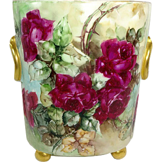 Guerin Footed Cache Pot with Hand Painted Crimson Red Ruby Roses