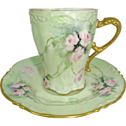 JPL Limoges Coco Chocolate Cup Saucer Hand Painted Pink Roses