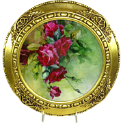 Framed Antique French Limoges Hand Painted Plate Ruby Red Tea Roses Signed by Lena E. Hanscom, China Artist