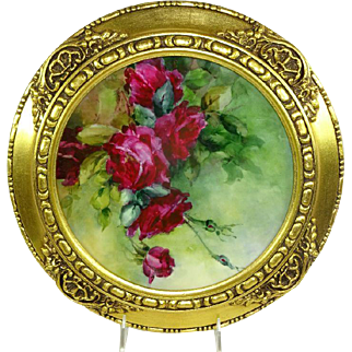 Framed Antique French Limoges Hand Painted Plate Ruby Red Roses Famous Artist Signed