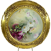 Framed Haviland Limoges Plate Hand Painted Roses Signed Nellie Sheldon