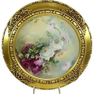 Framed Haviland Limoges Plate Hand Painted Roses Signed Nellie Sheldon