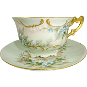 Limoges France Cup Saucer Hand Painted Forget Me Not Blossoms