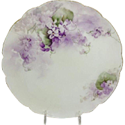 Haviland Limoges Plate Hand Painted Purple Violets Signed