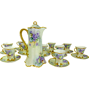 Haviland Limoges Chocolate Set with 11 Hand Painted Purple Violets