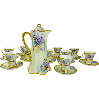Haviland Limoges Chocolate Set with Hand Painted Purple Violets