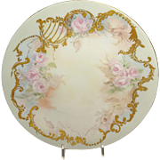 Guerin Limoges Plate Heavy Gilt Design Pink Tea Roses Signed