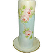 Gorgeous Hat Pin Holder with Hand Painted Pink and Yellow Tea Roses