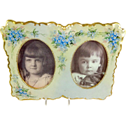 Guerin French Limoges Double Picture Frame Hand Painted Artist Signed