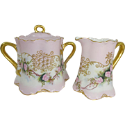 Haviland Limoges Sugar Creamer Hand Painted Pink Roses Artist Signed