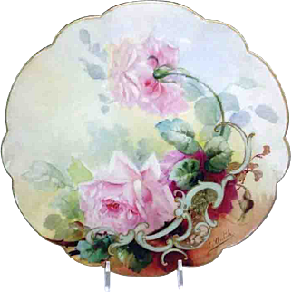 Antique French Limoges Tray with Beautiful Hand Painted Tea Roses