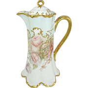 Antique Haviland Limoges Chocolate Pot Hand Painted Signed Dated