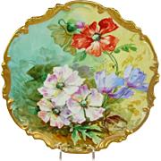 Limoges France Plaque Charger Hand Painted Poppies Signed Duval