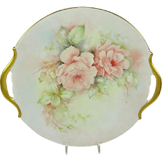 Limoges France Plate Charger Hand Painted Pink Tea Roses Signed