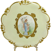 French Hand Painted Portrait Figural Porcelain Plate Artist Signed