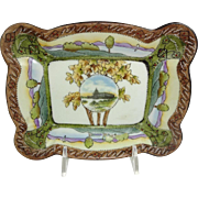 Nippon Scenic Footed Trinket Tray