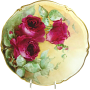 Antique French Limoges Plate Hand Painted Roses Signed