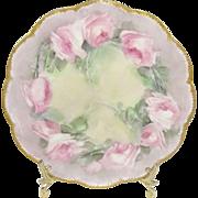 Haviland Limoges France Plate Hand Painted Pink Roses Signed