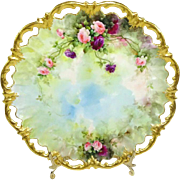 Hand Painted Sherratts Plate With Roses Reticulated Gilded Border