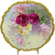 Limoges Pickard Plate Hand Painted Tea Roses Artist Signed