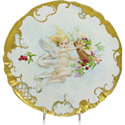 Antique Limoges Charger Plate Hand Painted Cherub Artist Signed