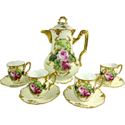 Antique French Limoges Chocolate Set Hand Painted Roses Signed