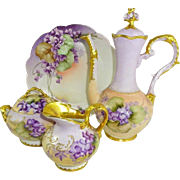 German Limoges Chocolate Set Hand Painted Purple Violets
