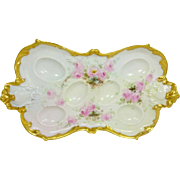 Antique French Limoges Egg Tray Pink Tea Roses Gilded Border