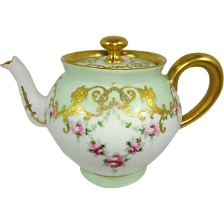 Antique French Limoges Tea Pot Pink Tea Roses Jeweled Signed