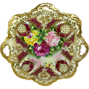 Royal Kinran Japan Nippon Cake Plate Roses Gold Beads