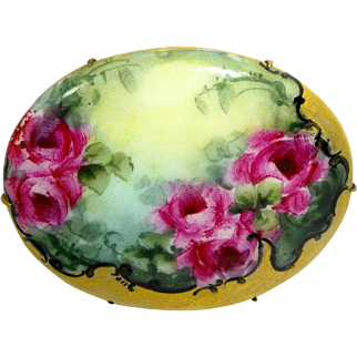 Extra Large Hand Painted Porcelain Brooch Hand Painted Tea Roses
