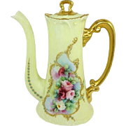 Antique French Limoges Coffee Tea Pot Hand Painted Roses Jewels