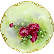 Stunning Haviland Limoges Plate with Hand Painted Crimson Roses
