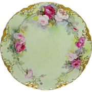 Haviland Limoges Plate Hand Painted Pink Tea Roses
