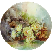 "Magnificent 15"" Bavaria Plaque Charger Hand Painted Yellow Roses"